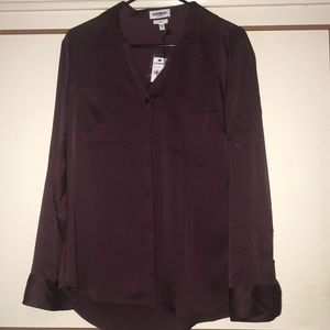 Express Wine Red Silk Top
